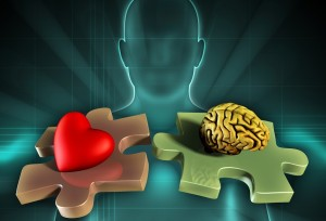 Human figure on background, with an heart and a brain on two mat